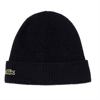 Lacoste Turned Edge Ribbed Wool Beanie Muts