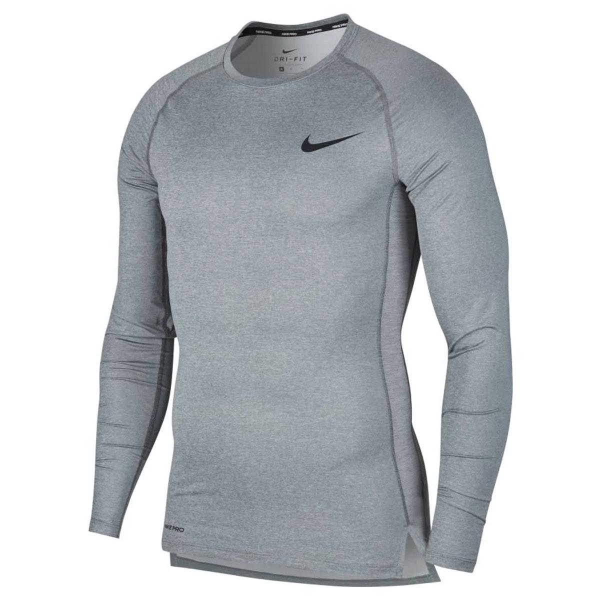 Nike Pro Top Shirt Hardloopshirt Lange Mouwen Heren Grijs
