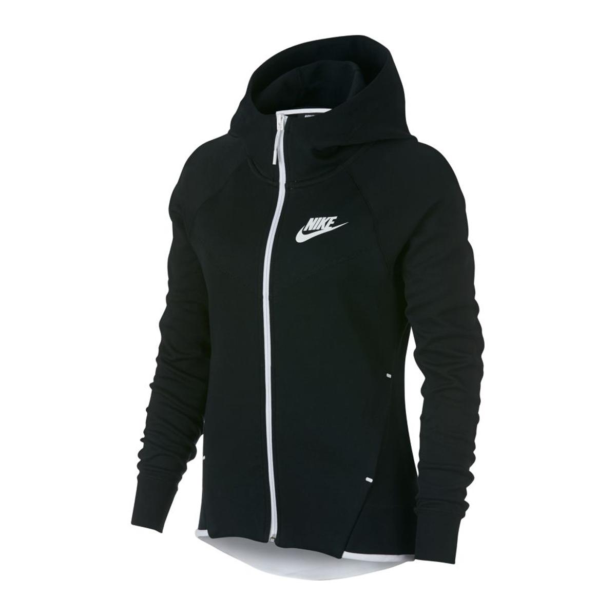 573063194f7 Nike Tech Fleece Windrunner Full Zip Hoodie ZWART/WIT online kopen ...