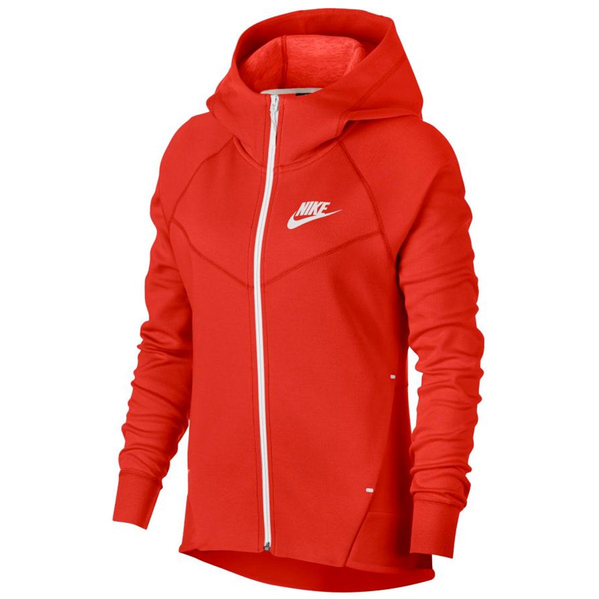 b4b03cf414fd Nike Tech Fleece Windrunner Full Zip Hoodie. 930759 634 Habanero Red White